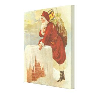 Vintage Christmas, Victorian Santa Claus Chimney Stretched Canvas Prints