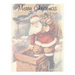 Vintage Christmas, Victorian Santa Claus Chimney Customized Letterhead
