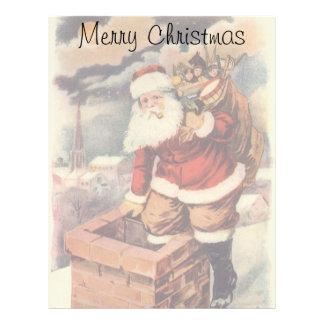 Vintage Christmas, Victorian Santa Claus Chimney Letterhead Template