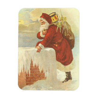 Vintage Christmas, Victorian Santa Claus Chimney Rectangular Photo Magnet