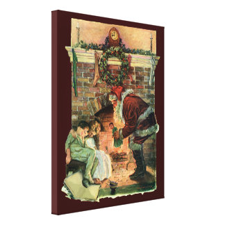 Vintage Christmas Victorian Santa Claus Fireplace Gallery Wrapped Canvas
