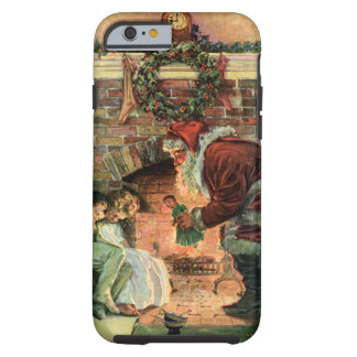 Vintage Christmas, Victorian Santa Claus Fireplace Tough iPhone 6 Case