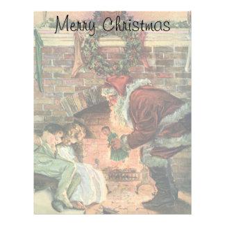 Vintage Christmas, Victorian Santa Claus Fireplace Personalized Letterhead