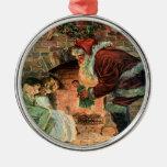 Vintage Christmas, Victorian Santa Claus Fireplace Ornament