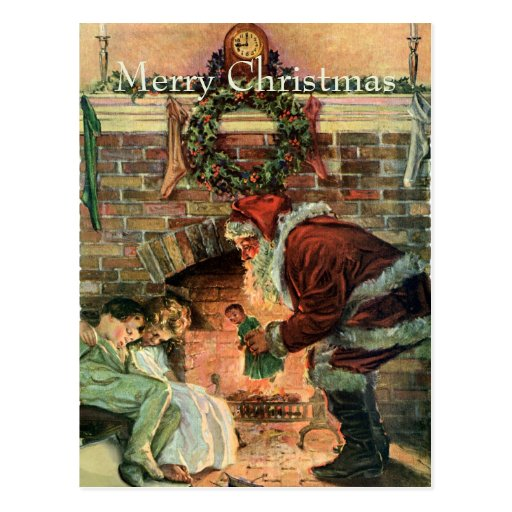 Vintage Christmas, Victorian Santa Claus Fireplace Post Cards