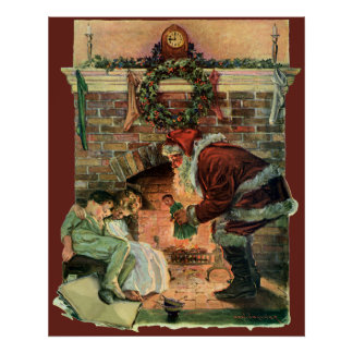 Vintage Christmas, Victorian Santa Claus Fireplace Print