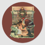 Vintage Christmas, Victorian Santa Claus Fireplace Round Sticker