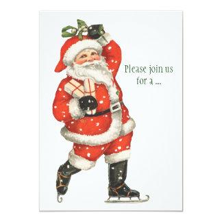 Vintage Christmas Victorian Santa Claus Ice Skater Card