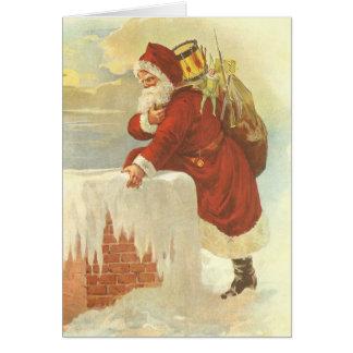 Vintage Christmas Victorian Santa Claus in Chimney Card