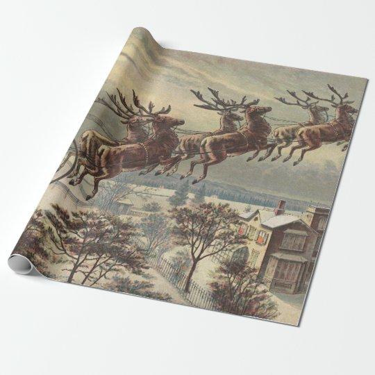 Vintage Christmas, Victorian Santa Claus in Sleigh
