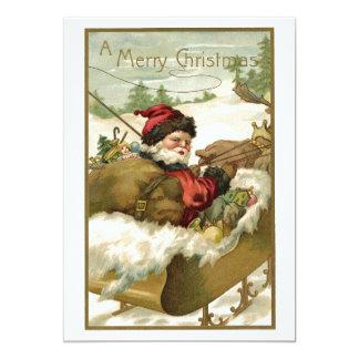 Vintage Christmas, Victorian Santa Claus in Sleigh Card