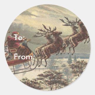 Vintage Christmas, Victorian Santa Claus in Sleigh Round Sticker