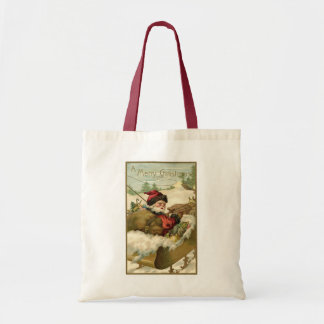 Vintage Christmas, Victorian Santa Claus in Sleigh Tote Bag