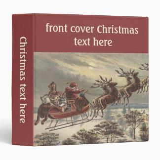 Vintage Christmas, Victorian Santa Claus in Sleigh Vinyl Binder
