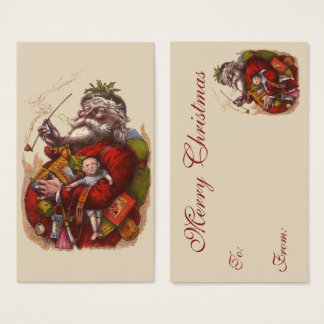 Vintage Christmas, Victorian Santa Claus Pipe Toys Business Card