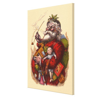 Vintage Christmas, Victorian Santa Claus Pipe Toys Canvas Print
