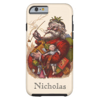 Vintage Christmas, Victorian Santa Claus Pipe Toys Tough iPhone 6 Case