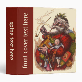 Vintage Christmas, Victorian Santa Claus Pipe Toys Vinyl Binder