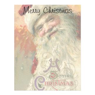 Vintage Christmas, Victorian Santa Claus Portrait Letterhead Design