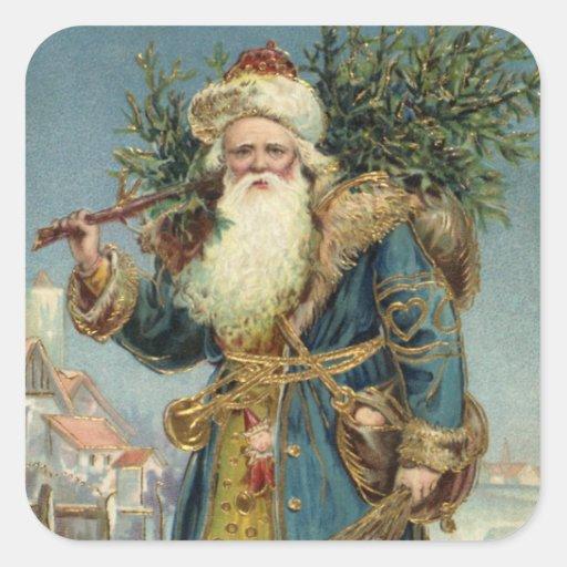 Vintage Christmas, Victorian Santa Claus Square Stickers