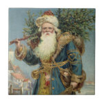 Vintage Christmas, Victorian Santa Claus Ceramic Tiles