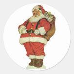 Vintage Christmas, Victorian Santa Claus Toys Round Stickers