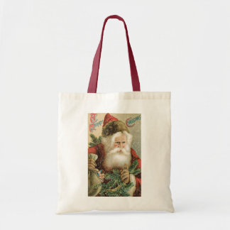 Vintage Christmas, Victorian Santa Claus with Pine Tote Bag