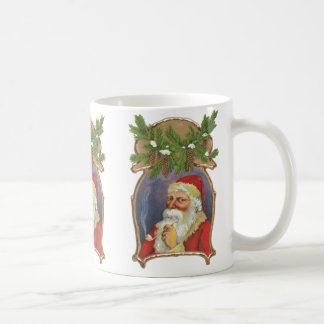 Vintage Christmas, Victorian Santa Claus with Pipe Coffee Mug