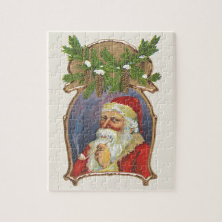Vintage Christmas, Victorian Santa Claus with Pipe Jigsaw Puzzle