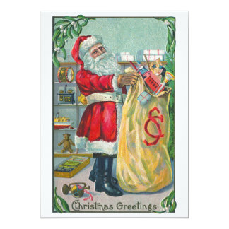 Vintage Christmas, Victorian Santa Claus with Toys Card