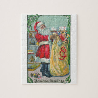 Vintage Christmas, Victorian Santa Claus with Toys Jigsaw Puzzle
