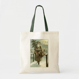 Vintage Christmas, Victorian Santa Claus with Toys Tote Bag