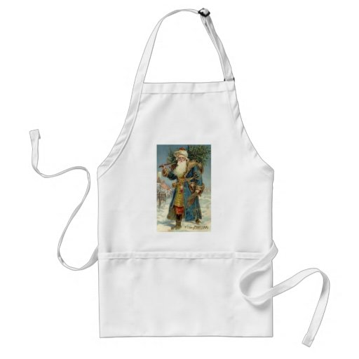 Vintage Christmas, Victorian Santa Claus with Tree Standard Apron