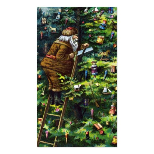 Vintage Christmas, Victorian Santa Claus with Tree Business Card