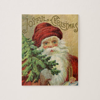 Vintage Christmas, Victorian Santa Claus with Tree Jigsaw Puzzle