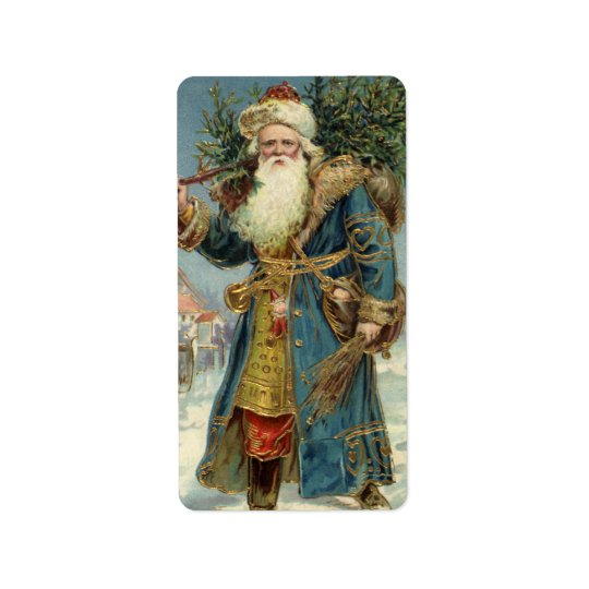 Vintage Christmas, Victorian Santa Claus with Tree Label