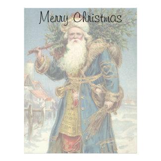 Vintage Christmas, Victorian Santa Claus with Tree Letterhead