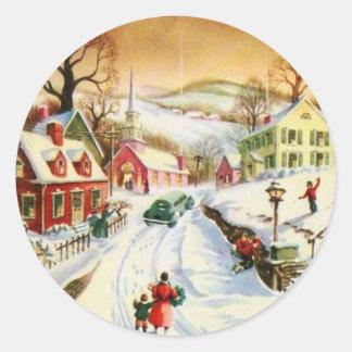 Vintage Christmas Village Classic Round Sticker