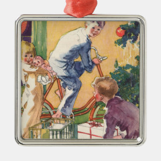 Vintage Christmas, Vintage Children with Presents Metal Ornament