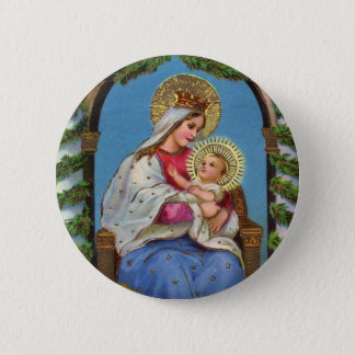Vintage Christmas Virgin Mary Baby Jesus Button