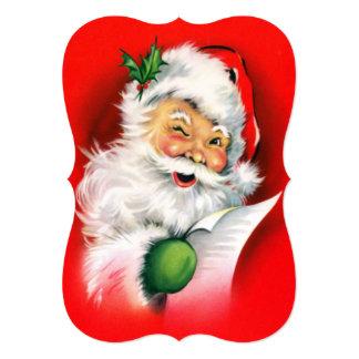 "Vintage Christmas Winking Santa 5"" X 7"" Invitation Card"