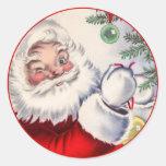 Vintage Christmas Winking Santa Claus Sticker
