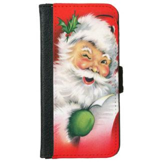 Vintage Christmas Winking Santa iPhone 6 Wallet Case