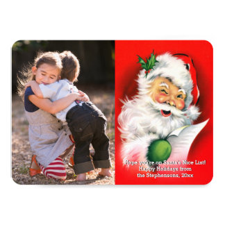"Vintage Christmas Winking Santa Photo Card 4.5"" X 6.25"" Invitation Card"