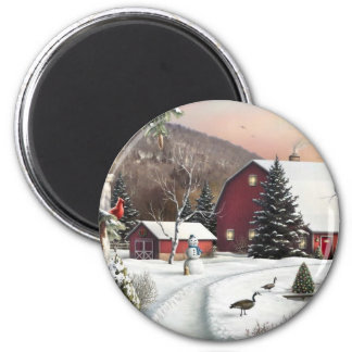 Vintage Christmas Winter Farm Magnet