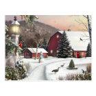 Vintage Christmas Winter Farm Postcard