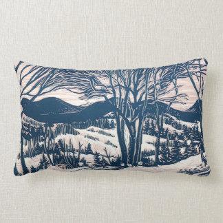 Vintage Christmas, Winter Mountain Landscape Lumbar Pillow