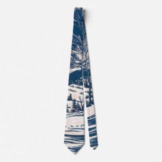 Vintage Christmas, Winter Mountain Landscape Tie