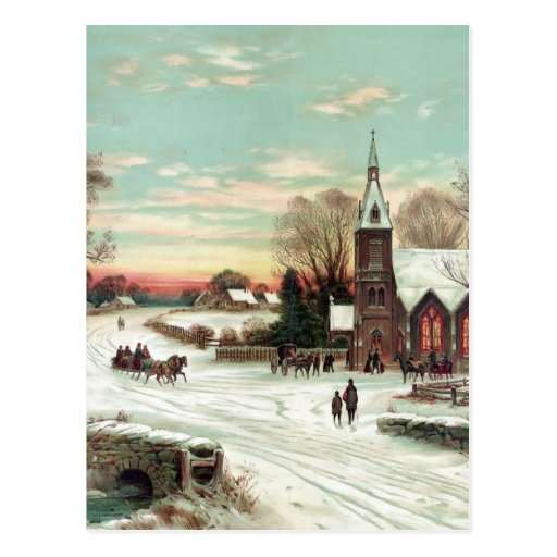 Vintage Christmas Winter Post Card