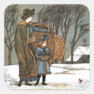 Vintage Christmas Winter Scene, Girls, Bird, Snow. Square Sticker